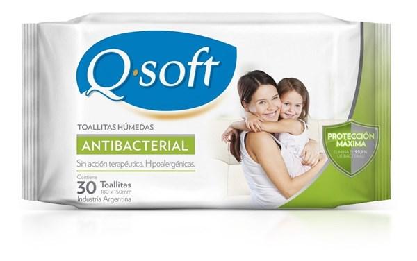 Toallitas Humedas Antibacteriales Q Soft x30 u