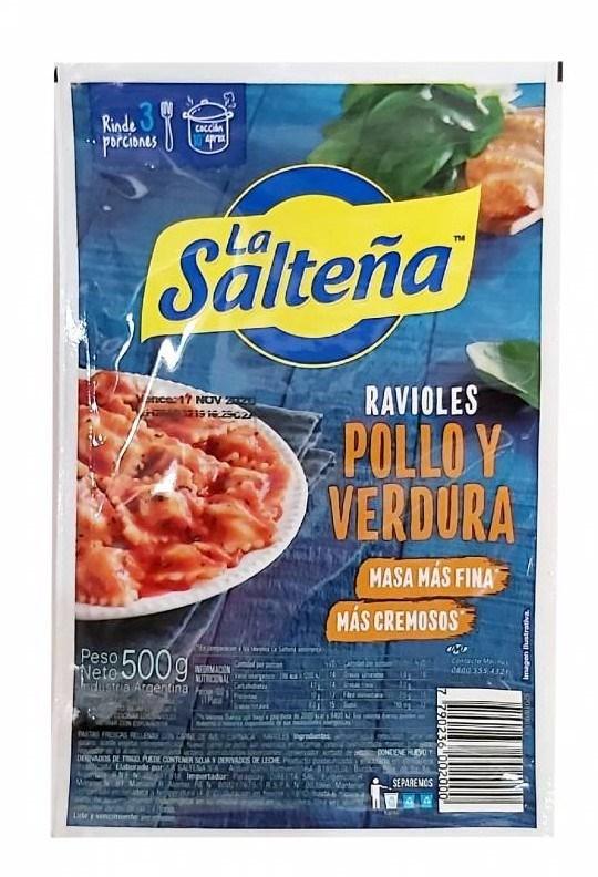RAVIOLES LA SALTEÑA POLLO/VERD x 500 GRS