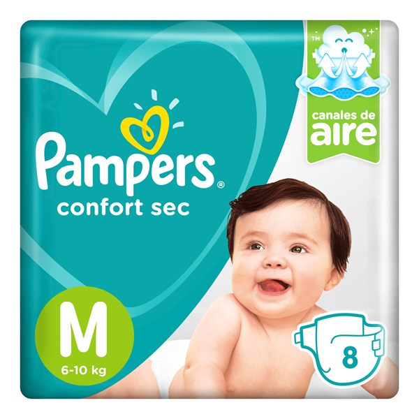 Pañales Pampers Confort Sec M X 8 Unidades