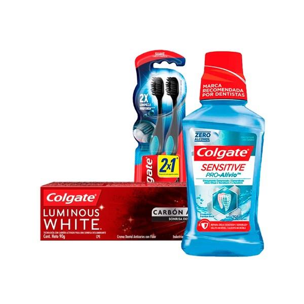 Combo Colgate Cepillos Dentales + Pasta Dental + Enjuague Bucal