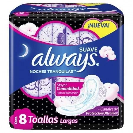 ALWAYS NOCHES TRANQUILAS SUAVE 8 UNIDADES TOALLITAS HIGIENICAS  #1