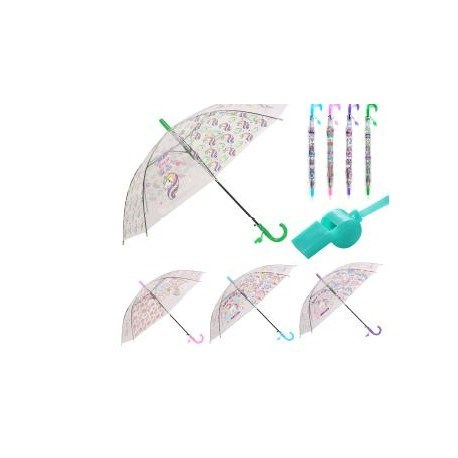 Paraguas Infantil Unicornio con silbato