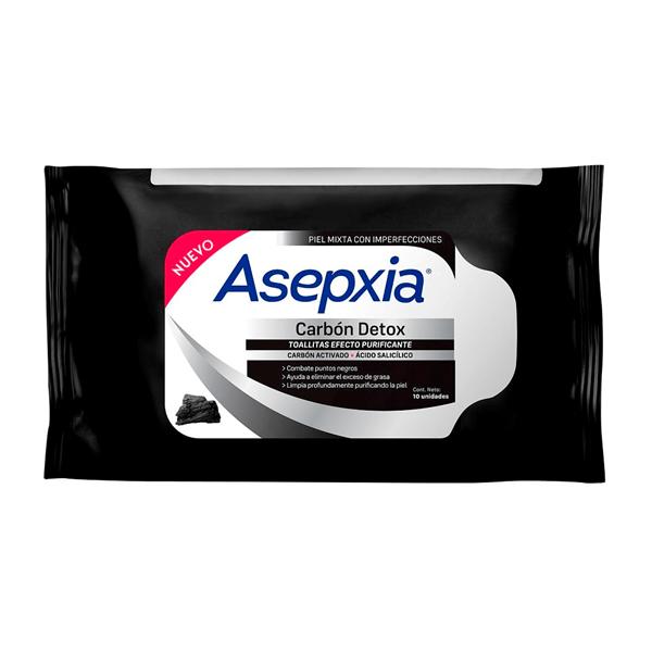 Asepxia Toallitas Purificantes Carbon Detox  X10unid.