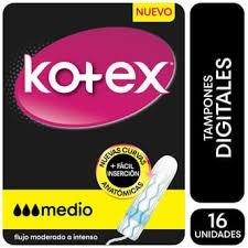 KOTEX Tampones Digitales Medio Flujo Moderado A Intenso 16 unidades
