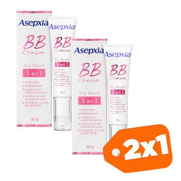 Promo 2x1 Asepxia BB Cream Dry Touch 5 Beneficios En 1 x30grs