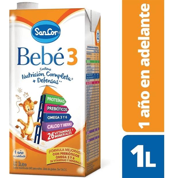 SANCOR BEBE 3 ( NUTRICION COMPLETA) VAINILLA brick x 1000 ml