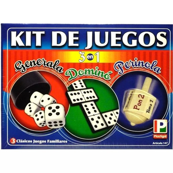 Kit Juego 3 En 1 (Generala, Domino, Perinola)