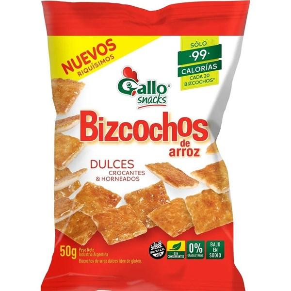 BIZCOCHOS DE ARROZ GALLO DULCE x 50 GRS