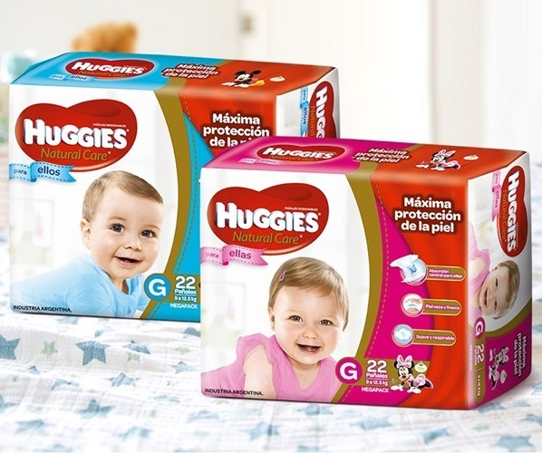 Huggies Natural Care Ellas y Ellos Grande Oferta x 2 paquetes de 22u