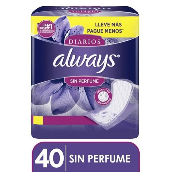 Always Protectores Diarios Sin Perfume x 40 un