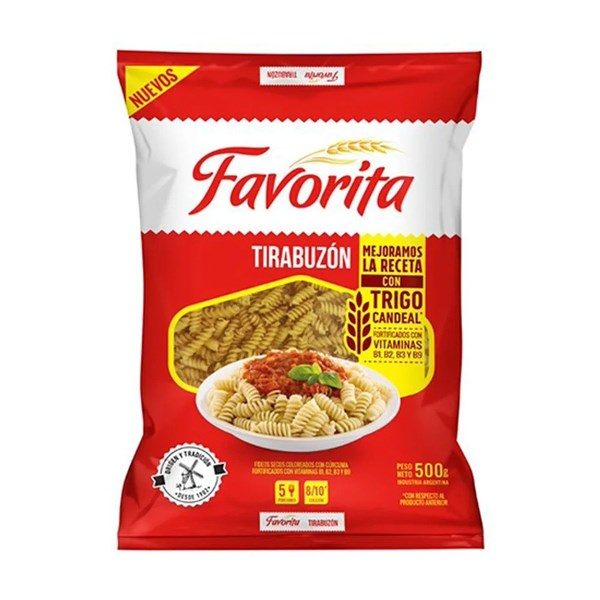 FIDEOS FAVORITA TIRABUZON x 500 G