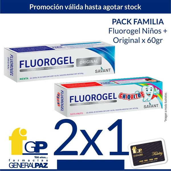 Fluorogel Gel Dental De Uso Diario Pack Familia. Original 60g / Chiquitos 60g  (2x1) alt