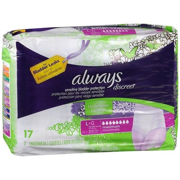 Always Discreet Ropa Interior Underwear Max L x 17 un