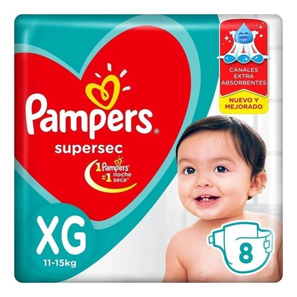 Pampers Supersec Rojo XG x 8
