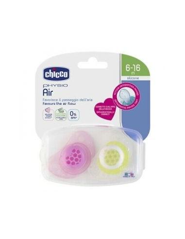 Chicco Physio Air chupete de silicona rosa 6-12M 2Un