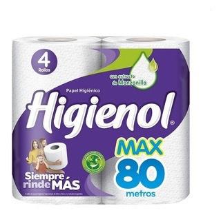 PAPEL HIGIENICO HIGIENOL MAX E.B x 4 X 80 MS