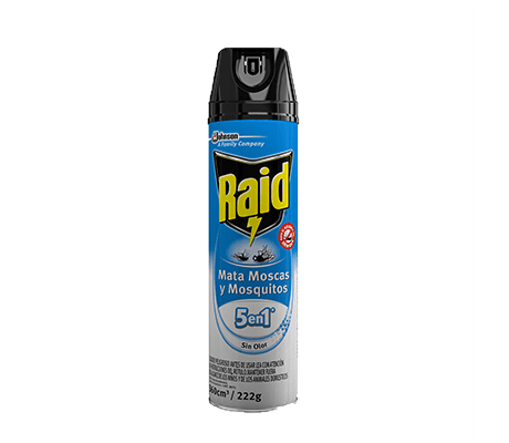 Raid Insecticida Aerosol Mata Moscas Y Mosquitos Sin Olor 360cm3