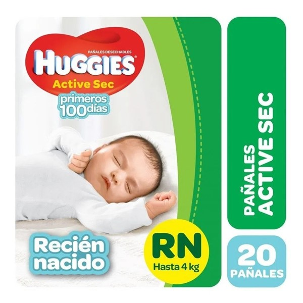 Huggies Pañales Active Sec RN hasta 4 kg x 20 un