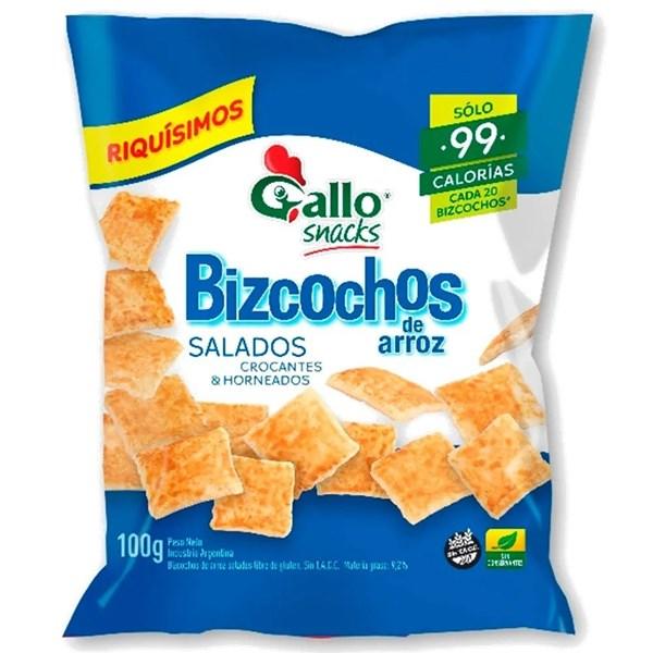 BIZCOCHOS DE ARROZ GALLO SALADOS x 100 GRS
