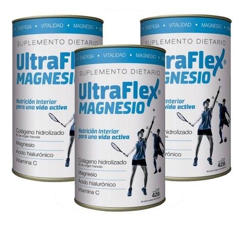 Combo X 3 Ultraflex Magnesio Colágeno Hidrolizado En Polvo X 420 Gr