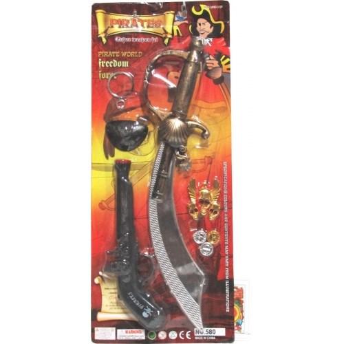 Set Pirata Con Largavista Espada Y Trabuco En Blister