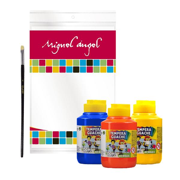 Kit de Arte Para Niños Témperas + Pincel + Bloc De Hojas Dibujo