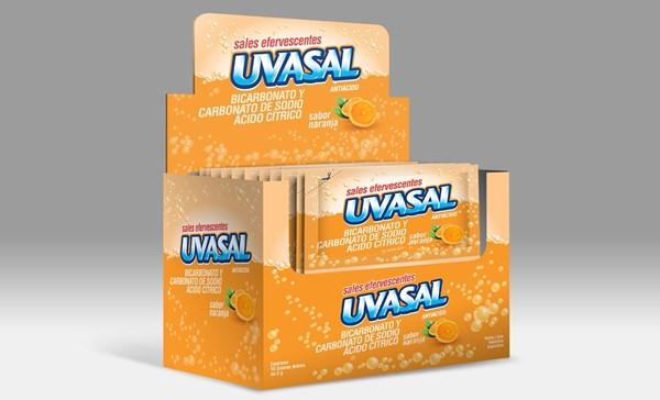 Uvasal Bicarbonato Y Carbonato De Sodio Ácido Cítrico Sabor Naranja x15  Sobres