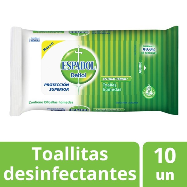 Toallas Antibacteriales Espadol Dettol  X 10 Unidades