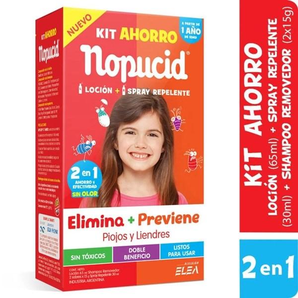 Nopucid Pediculicida x 65 ml Mas 30 ml Kit Ahorro Loción Mas Spray