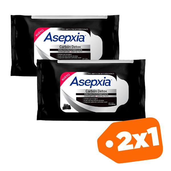 Promo 2x1 Asepxia Toallitas Purificantes Carbon Detox  X10unid.