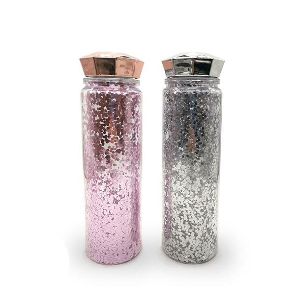 Botella Con Glitter Y Tapa Diamante