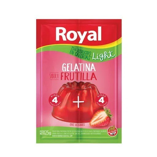 GELATINA ROYAL LIGHT FRUTILLA x 25 G