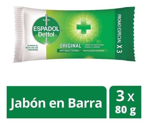 Jabón Antibacterial Espadol Dettol Original X3 X 240 Gr