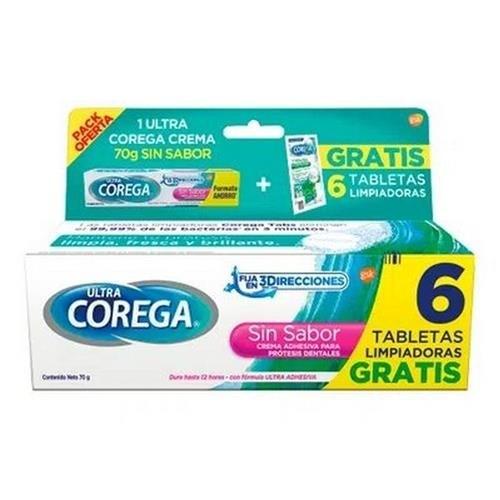 Ultra Corega Crema Sin Sabor Pomo 70g + Tabs