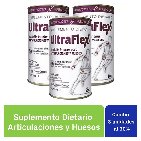 Ultraflex Colágeno x300g Hidrolizado PACK X 3 UNIDADES