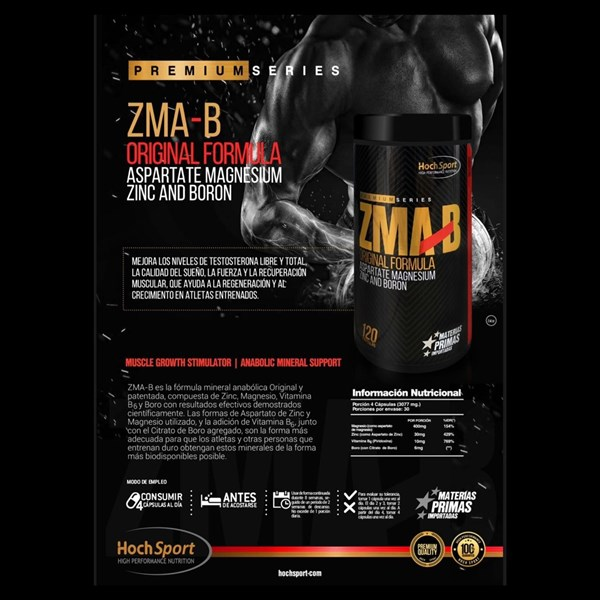 ZMA Potenciador de Testoterona - Vitamina B6, Magnesio, Zinc, Boro, Aumenta Testo 120 Caps alt