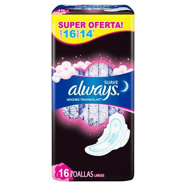 Toallitas Higienicas Always Noctur Maxi Prot Suav X 16 Unidades  alt