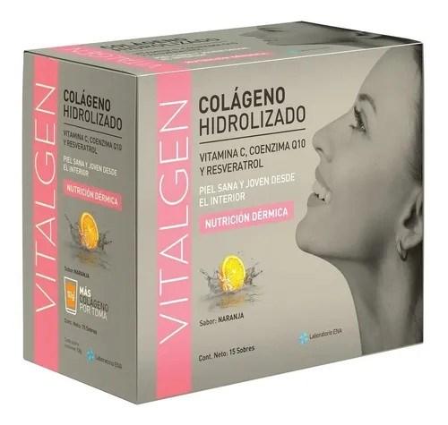 Colágeno Hidrolizado Vitalgen Sabor Naranja 15 Sobres