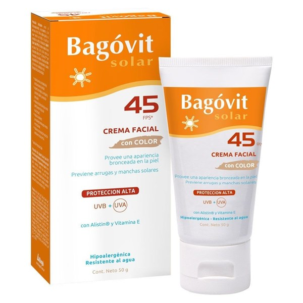 Bagovit Protector Solar Crema Color SPF 45 50g