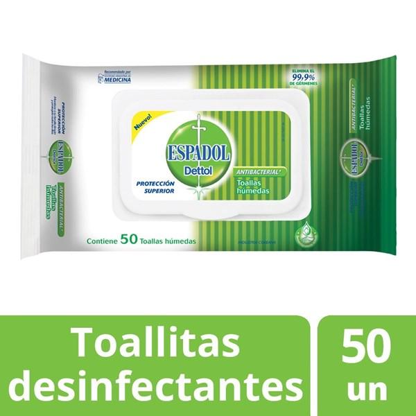 Toallas Antibacteriales Espadol Dettol  X 50 Unidades