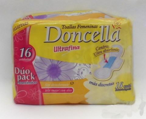 Doncella, Toallas Femeninas Ultrafina con alas 16 un