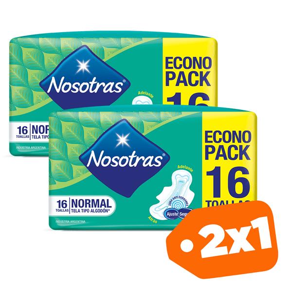 Promo 2x1 Nosotras Toallitas Normal x16 Unidades