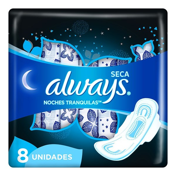 Toallitas Higienicas Always Noches Tranq Seca X 8 Unidades