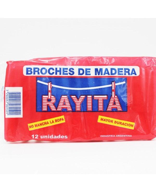 BROCHES RAYITA MADERA x 12 U