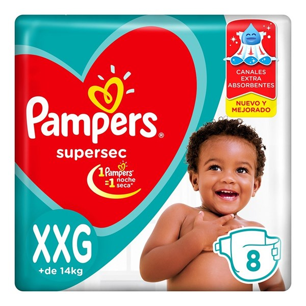 Pañales Pampers Supersec XXG X 8 Unidades