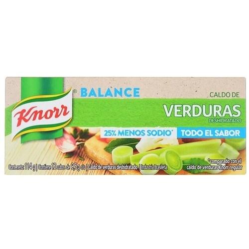 CALDO KNORR X 12 VERDURA MENOS SODIO x 114 GRS