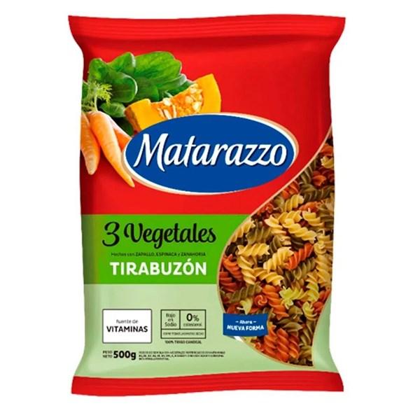 FIDEOS MATARAZZO TIRABUZON 3 VEG x 500 GRS