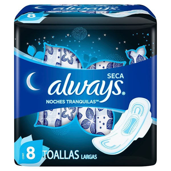Toallitas Higienicas Always Noches Tranq Seca X 8 Unidades  alt