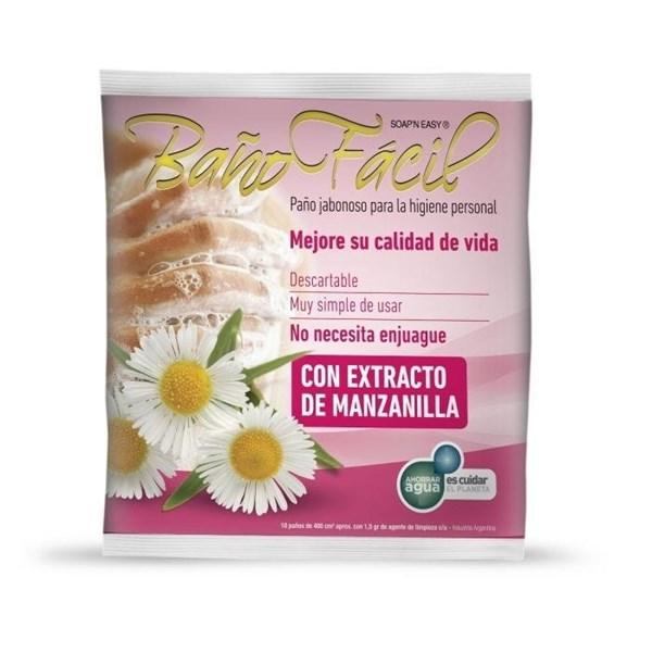 Baño Fácil Paño Jabonoso Manzanilla x10 Unidades