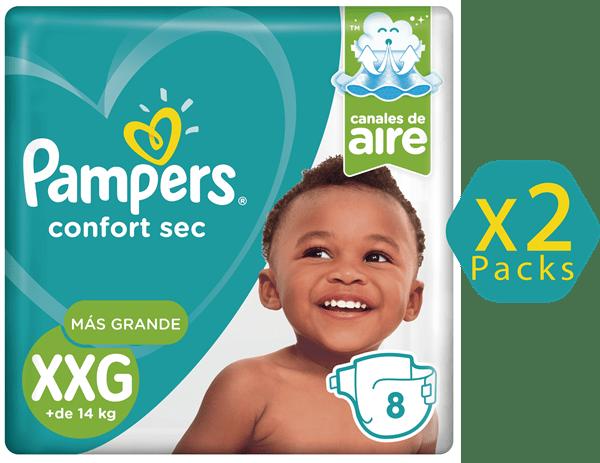 Combo Pañales Pampers Confort Sec XXG X  2 Packs De 8 Unidades